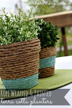Elevate boring brown pots by wrapping rope around them, then adding a bit of paint for visual interest.  Get the tutorial at House by Hoff.
