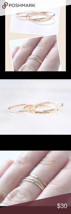 3 Super Skinny Gold Rings A set of three super skinny stacking rings made of 14k yellow gold filled. Available in sizes 2-13. nejd Jewelry Rings