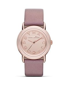 """MARC BY MARC JACOBS """"MARCI"""" Rose Gold Watch with Blush Leather Strap, 33 mm  PRICE: $150.00  A bubble-gum pop. Wear MARC BY MARC JACOBS' rose gold-cased ticker to trim on-trend tailoring in girlish style."""