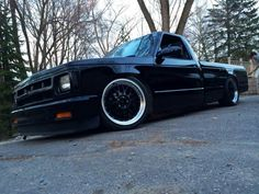 All black w/ polished lip S10 Truck, Chevy Pickup Trucks, Chevy Pickups, S10 Pickup, Small Trucks, Mini Trucks, Gm Trucks, Chevrolet S 10, Chevrolet Trucks