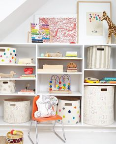 Sometimes your nursery organization can feel OUT OF CONTROL. How difficult is it to find containers that can stand up to toddlers? We have them for you, courtesy of Pehr Designs. These soft bins will stand up to any amount of stuffing, standing, or stretching that your toddler can manage. Now that's durability!