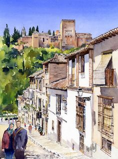 I have completed three commissions in the last two weeks. I was asked by a Muslim couple in England for a painting of Granada where they went for their honeymoon last year. They wanted a street sce…