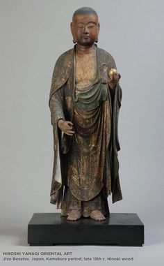 JAPON Jizo Bosatsu. Japan, Kamaura period, late 13th century. Hinoki wood: