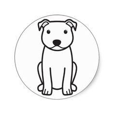 Staffordshire Bull Terrier Dog Cartoon Round Sticker