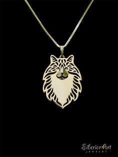 Norwegian Forest cat jewelry  gold pendant by SiberianArtJewelry