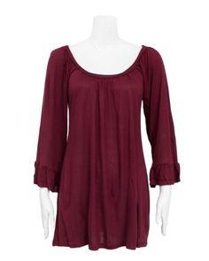 Burgundy Ladies Long Dress Shirt Ruffled Cuffs FineBrandShop. $13.50