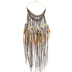 Ruby Feathers Khaki Leather & Feather Raucous Necklace