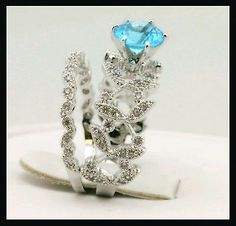 Vintage Style White Gold Filled Blue Cubic Zirconium Ring