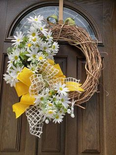 Charming photo #frontdoorsstyles Double Door Wreaths, Spring Front Door Wreaths, Spring Wreaths, Outdoor Fall Wreaths, Welcome Signs Front Door, Mothers Day Wreath, Sunflower Wreaths, Hydrangea Wreath, Summer Wreath