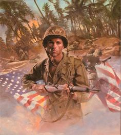 Military Art, Military History, Army Usa, American Soldiers, American Flag, Us Marine Corps, Us Marines, Historical Art, Modern History