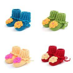 Handmade Baby Unisex Crochet Knit Flower Sandals Walker Shoes Bootees Slippers #Handmade #WalkingShoes