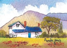 ACEO Original Watercolour Hillside Cottage Wales Trading