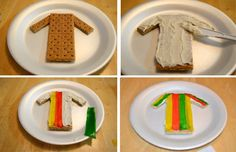 Supplies: graham crackers, frosting, fruit strips, plastic knife, paper plate Place the graham cracker on the paper plate. Cut two smaller rectangles from another graham cracker for sleeves. Put th...