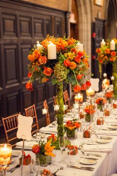 Fall centerpiece for a long table for Flowerful Events
