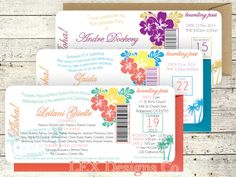 Digital OR Printed Plane Ticket Boarding Pass Wedding Invitations