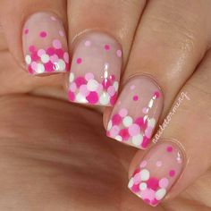 """Dot gradient BCA mani just using a bobby pin and toothpick. I've done this look many times before and I will continue to do it over and over again because it's undeniably adorable! Perfect for beginners! - - Tutorial was already posted! - Products used: Hot Pink: """"Mod Square"""" Essie Lighter pink: """"Perf"""" @flossgloss White: """"Pure Love"""" @ellamilapolish Top coat: HK girl @glistenandglow1"""
