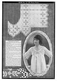 Fillet Crochet, Lace Collar, Vintage Crochet, Gowns, Frame, 1920s, Home Decor, Lingerie, Patterns