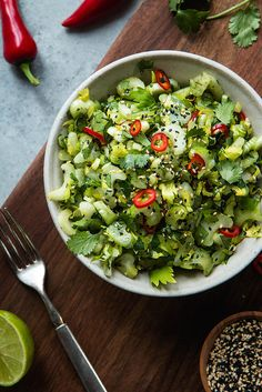 Sweet And Sour Celery Cilantro Salad | Will Cook For Friends