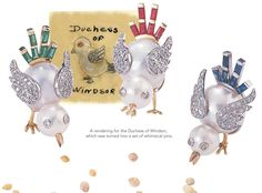 Original Sketch for Duchess of Windsor Chick Brooch & actual Chick Brooches - Seaman Schepps, Duchess Of Windsor Wallis Simpson.....Uploaded By www.1stand2ndtimearound.etsy.com