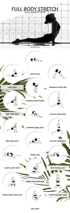Improve your range of motion, increase circulation, and calm your mind with this 10 minute full body stretching flow. The following yoga poses target your tightest muscles, ensuring an amazing total body stretch! www.spotebi.com...