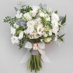 Bright Bouquets for Every Type of Bride | Martha Stewart Weddings - Dusty Miller, Jasmine, and Lisianthus