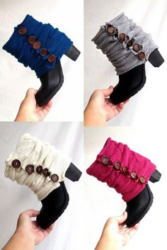 Gray Knit Leg Warmers Boot Cuffs Knit Socks Boot by senoAccessory