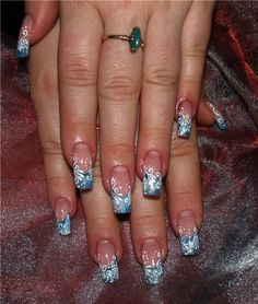 nails art.      These for Christmas (red or green French with white filigree). They also would make for beautiful wedding nails.