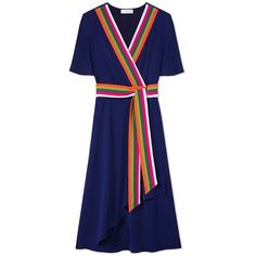 Tory Burch Peggy Wrap Dress (1.690 RON) ❤ liked on Polyvore featuring dresses, v-neck dresses, blue wrap dress, v neck dress, long dresses and short sleeve wrap dress