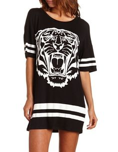 Tiger Varsity Sleep Shirt Girl Fashion, Fashion Dresses, Girl Trends, Sleep Shirt, Night Gown, Lounge Wear, Clothes For Women, My Style, How To Wear