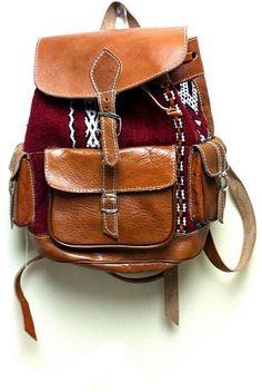 FREE Shipping..Kilim BackpackMoroccan Leather bagKilim by Artsiya