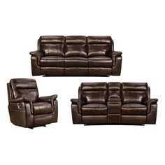 Lowey 3-Piece Reclining Sofa, Loveseat and Chair in Tobacco   Nebraska Furniture Mart