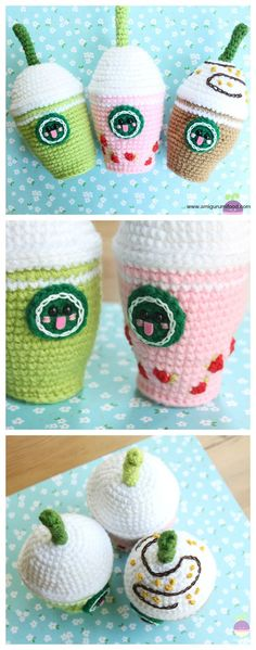 Starcutes Buddies Starbucks Crochet Pattern Frappuccino Green Tea, Strawberry and Chocolate! by Amigurumi Food