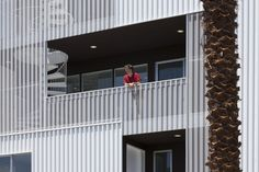 LA apartments by LOHA feature balconies with perforated panels Creative Architecture, Facade Architecture, Sustainable Architecture, Minimalist Home, Minimalist Design, Famous Architects, Metal Panels, Metal Homes, Affordable Housing
