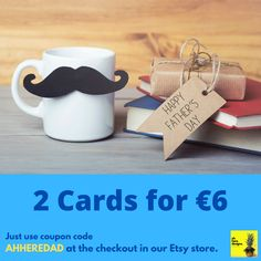To celebrate our very first big 'card' day in Father's Day, we are running a special promo in our Etsy store. Get 2 Cards for €6 and show your dad how much of a legend he really is - all you have to do is enter the coupon code AHHEREDAD at the checkout in our Etsy store to receive the discount. Discount runs until June 14 - DM us for any further information. Irish Greetings, Handmade Items, Handmade Gifts, Coupon Codes, Etsy Store, Fathers Day, Birthday Cards, Etsy Seller, June