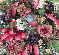 XXL Newly Designed Exceptional Wreath for Your Front Door filled with roses, dahlias, hydrangeas, zinnias, verbena, full ribbon bow and streamers, and so much more! by http://www.LadybugWreaths.com, $279.97