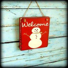 Snowman Sign Winter Decor Front Door Sign by SawdustAndSunshowers