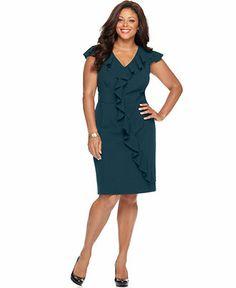 Spense Plus Size Dress, Cap Sleeve Ruffled Banded Waist - Plus Size Dresses - Plus Sizes - Macy's