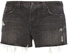 $165, Charcoal Denim Shorts: 1158 Cut Off Denim Shorts by J Brand. Sold by NET-A-PORTER.COM. Click for more info: http://lookastic.com/women/shop_items/136607/redirect