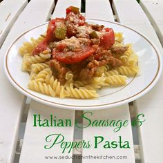 Italian Sausage and Peppers Pasta, an easy Italian dish that is full of flavor. A recipe from Seduction In The Kitchen.