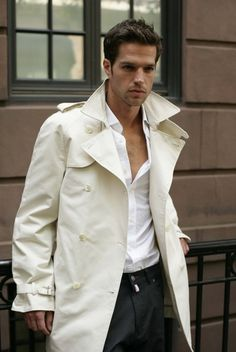 Great #cream #coat, #white shirt and trousers - work well with this skin tone.