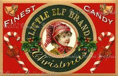 Christmas Vintage Tag Printable Label Little Elf Digital Collage Sheet ...