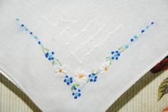 Vintage Embroidered Handkerchief by StillWaterTreasures on Etsy