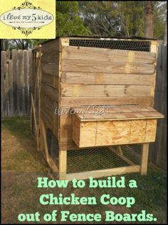 DIY CHICKEN COOP made with old fence. A simple way to re-use and recycle old fence to make a new home for our backyard chickens.