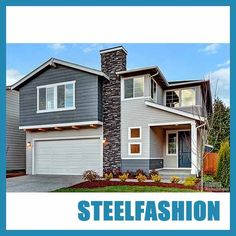 The light steel structure prefab house covers an area of 90 square meters, two floors of a total area of 180 square meters, there are 4 bedrooms, 2 bathrooms, and an indoor garage. Osb Wood, Modern Modular Homes, Waterproof Flooring, Steel Structure, Prefab Homes, Aluminium Alloy, Second Floor, Floors, Villa