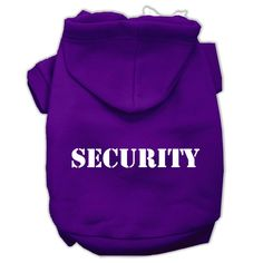 Security Screen Print Pet Hoodies Purple Size w/ Cream Size text XL (16)
