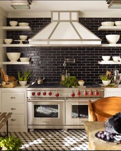 fantastic floors and cool black subway tiles