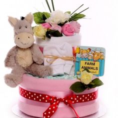 Two tier nappy cake with a donkey soft toy, and hardback buggy book, for a little baby girl. Little Baby Girl, Little Babies, Baby Girls, Baby Girl Cakes, Nappy Cakes, Toys, Children, Activity Toys, Young Children