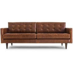 Joybird Eliot Mid Century Modern Black Leather Sofa ($3,679) ❤ liked on Polyvore featuring home, furniture, sofas, black, mid century modern couch, mid century modern furniture, mid century modern sofa, leather couch and black leather sofa