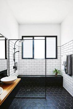 Midcentury Modern Bathroom Tile Ideas Midcentury bathroom where white subway tiles meet black hexagon tiles.Midcentury bathroom where white subway tiles meet black hexagon tiles. Modern Bathroom Tile, Bathroom Renos, Bathroom Black, Bathroom Designs, Bathroom Vanities, Bathroom Layout, Bathroom Cabinets, Bathroom Renovations, Modern Bathrooms