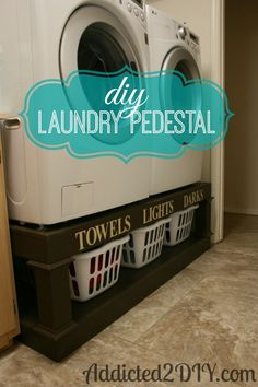Build a pedestal for your washer and dryer with storage space beneath.  DIY by Addicted2DIY.